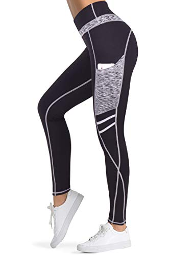 3W GRT Leggings mujer fitness,Mallas Deportivas de Mujer,Pantalones elásticos de yoga con bolsillos laterales,polainas de yoga Fitness,Yoga (Negro&Gris-331, XXL=EUR42)