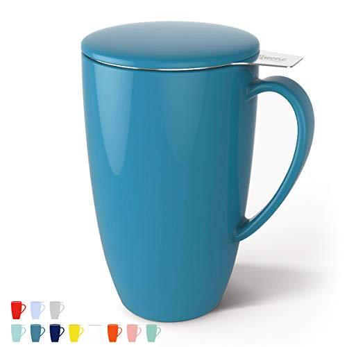 Sweese 201.107 Teetasse mit Deckel und Sieb, Becher aus Porzellan für Losen Tee Oder Beutel, Azurblau, 400 ml