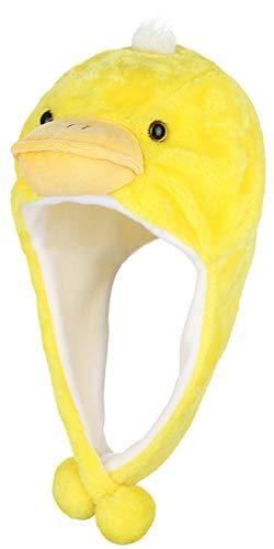 MARRYME Tiermütze Plüsch Wintermütze Hut Kopfbedeckung Kostüm Karneval Cap mit kurzen Bommeln für Erwachsene und Baby Kleine gelbe Ente