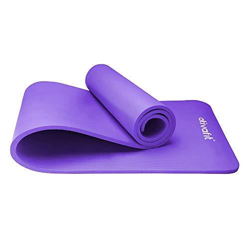 ATIVAFIT Phthalatfreie Yogamatte - rutschfest und gelenkschonend Sportmatte für Yoga Pilates Sport Fitnessmatte Gymnastikmatte mit Tragegurt Pilatesmatte 183 * 61 * 1 cm Trainingsmatte (Lila - 2)