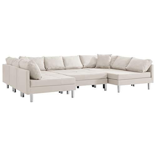 vidaXL Sofa Modular Ecksofa Eckcouch Couch Wohnlandschaft Wohnzimmersofa Polstersofa Loungesofa Sofagarnitur Couchgarnitur Stoff Creme