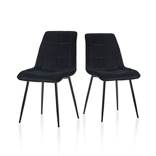 TUKAILAI Esszimmerstühle Weiche Sitzfläche und Rückenlehne Samt Wohnzimmerstühle mit stabilen Metallbeinen Küchenstühle für Esszimmer 2er Set Wohnzimmer Empfang Bürostuhl Schwarz