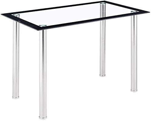 BOJU Kitchen Tempered Glass Top Table Dining Room Home Furniture Metal Chrome Leg Table Rectangle Used for 4/6 People (1.2M table only)