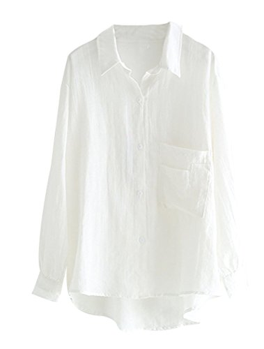 MatchLife Damen Bluse Leinen Elegant Langarm Casual Oberteil Lose Langarmshirt Tunika Hemd mit Taschen Weiß M(Fit EU36-40)