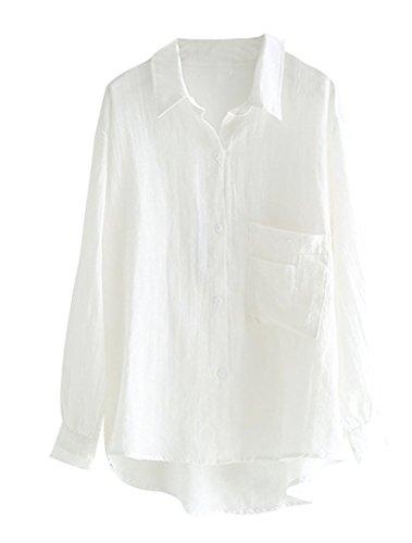 MatchLife Damen Bluse Leinen Elegant Langarm Casual Oberteil Lose Langarmshirt Tunika Hemd mit Taschen Weiß XL(Fit EU42-46)