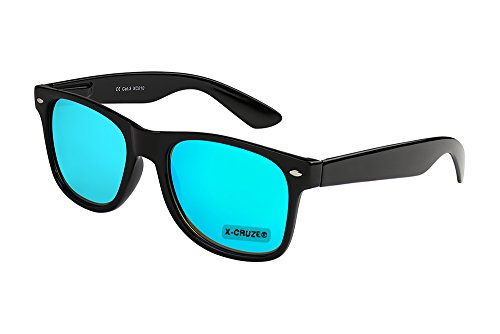 X-CRUZE® 8-105 X0 Nerd Sonnenbrille Retro Vintage Design Style Stil Unisex Herren Damen Männer Frauen Brille Nerdbrille - schwarz und hellblau verspiegelt