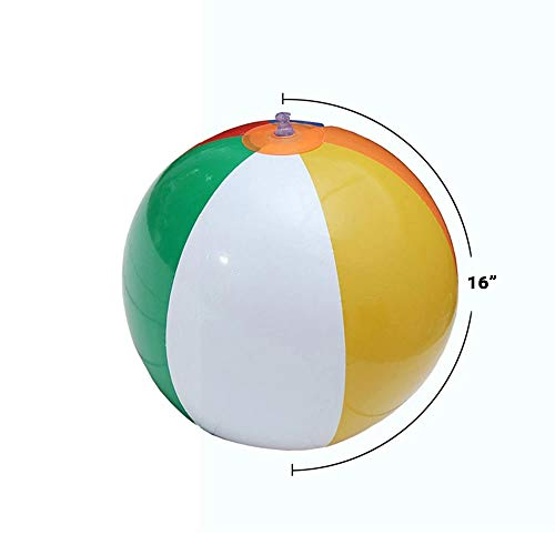 SHATCHI 16/20/24 inch Beach Ball Inflatable Multi Coloured Holiday Swimming Pool Party Toys Blow Up Summer Game, 1pk-12pk, Rainbow, 1pc