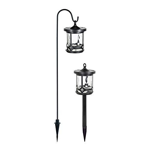 Duracell Solar-LED-Leuchten für den Garten, 7,5 Lumen, verwittertes Metall-Finish, Hängelaterne und Erdspieß (2er-Packung)