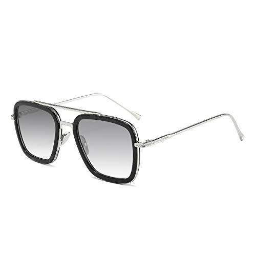 Dollger Retro Sonnenbrille Tony Stark Brille Vintage Quadratische Eyewear Metallrahmen für Damen Herren Iron Man Tony Stark die Gleiche Farbe