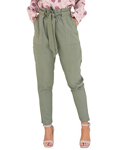 ChainJoy Womens Plus Size Spring Pants Trouser Cropped Paper Bag Waist Pants