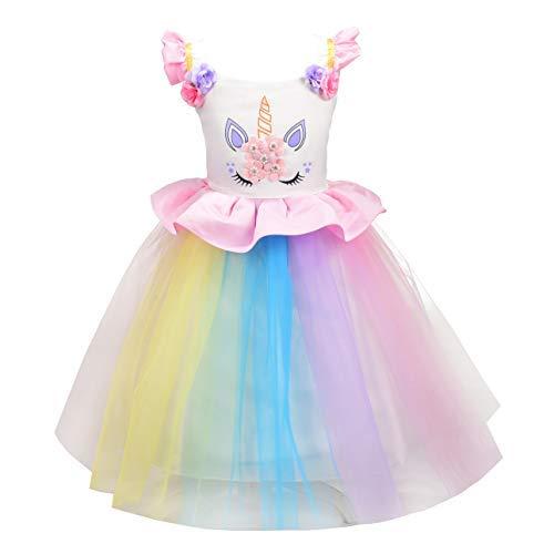 Lito Angels Einhorn Prinzessin Party Kleid für Kinder Mädchen, Geburtstag Karneval Kostüm Verkleidung, Größe 3-4 Jahre 104, Stil C - Rosa