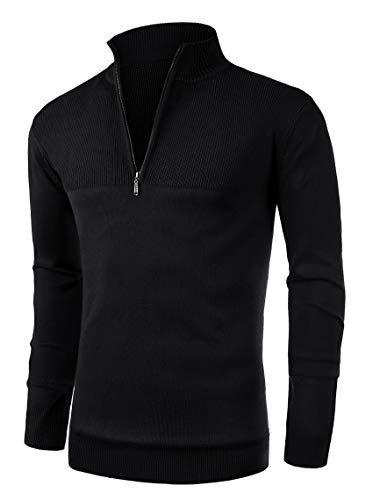 NITAGUT Mens Slim Fit Zip Up Mock Neck Polo Sweater Casual Long Sleeve Sweater and Pullover Sweaters with Ribbing Edge(Black-L)