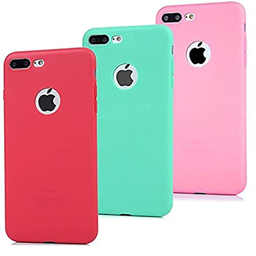 3x Funda iPhone 7 Plus, Carcasa Silicona Gel - Mavis's Diary Mate Case Ultra Delgado TPU Goma Flexible Cover Protectora para iPhone 7 Plus 5.5' - Rojo, Rosa claro, Verde menta