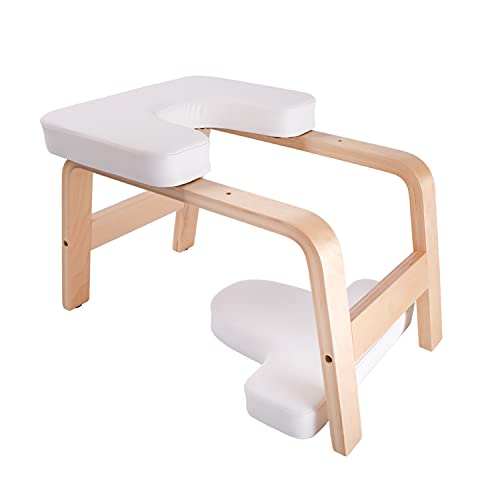 EUOSEN Taburete de pie para yoga, con cojín de poliuretano extraíble, estable de madera de abedul, color blanco
