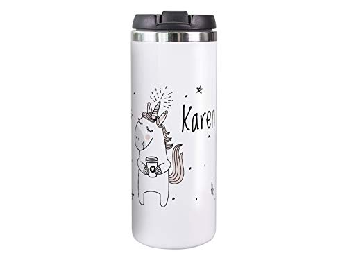 GRAZDesign Kaffeebecher für unterwegs, personalisiert mit Namen, Coffee to go, Thermobecher weiß, innen Edelstahl mit Isolierung, Geschenk für Sie, Motiv Einhorn mit Sternen