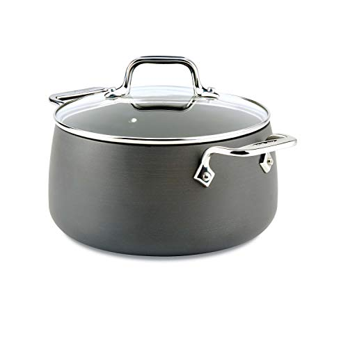 All-Clad E7854464 HA1 Hard Anodized Nonstick Dishwaher Safe PFOA Free Soup Stock Pot Cookware, 4-Quart, Black