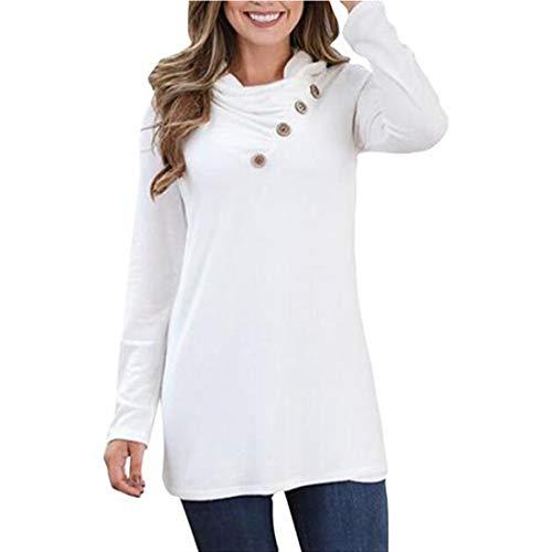 Damen Bluse Langarm Mode Einfarbiges T-Shirt Casual Hochelastische Bluse Rundhals...