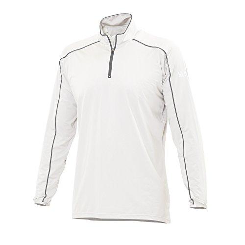 SLAM Man Superyacht Collection T-shirt stretch à manches longues pour homme 135 g 14 demi-fermeture Éclair Col.100 doux et confortable Blanc/gris Taille XL