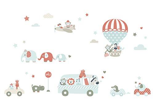 lovely label Pegatinas Infantiles de los Animales – Adhesivo Infantil Libre de PVC para Habitaciones de Niños y Bebés – Adhesivos Infantiles de 33 unidades – beige/mint/rojo