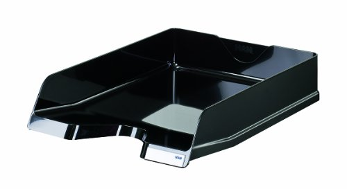 HAN VIVA - Vaschette portacorrispondenza, formato DIN A4/C4, impilabili, lucide, con clip, 5 pz nero