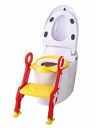 Set Toiletten Coach mit Stoffwindel von Kinderhaus Blaubär | Toilettentrainer mit Treppe | Töpfchentrainer | Kinder-Toilettensitz höhenverstellbar | Sitz für Toiletten, Design:rot/gelb