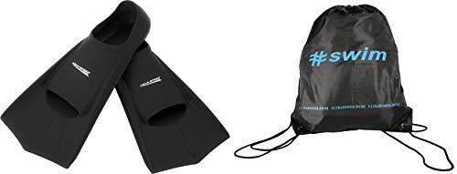Aqua Speed Trainingsflossen I Herren I leichte Schwimmflossen kurz I Kurzflossen für Männer Erwachsene I Schwimmtraining I Schnorcheln Flossen I Gummi I + Ultrapower Rucksack I schwarzI07; Gr. 43I44
