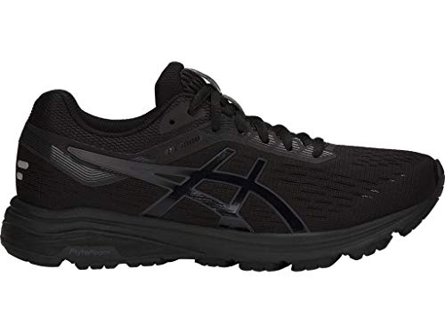 ASICS 1012A030 Women's GT-1000 7 Running Shoe, Black/Phantom, 8.5 M US