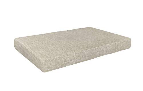 POKAR Cojín-Asiento 120x60x15cm para Europalés/Europalet, Asiento para jardín o terraza, Espuma fría, cómodo Asiento para sofá de paletas DYI, Interior y Exterior, sin palés, Beige