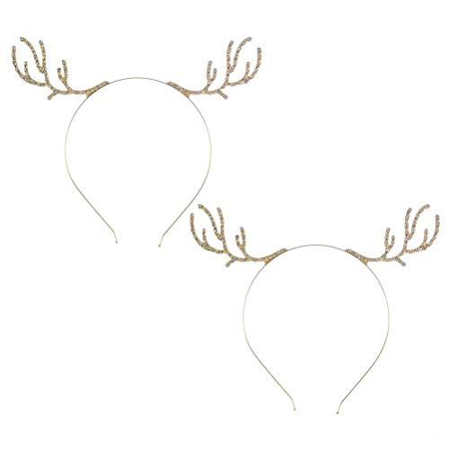 Meisjes Vintage Haaraccessoires 2 stks Haarbanden Gouden Kristal Haar Hoop Kerst Hoofdband Headdress Party Fancy Jurk Kostuums Accessoire voor Mode Retro Elegante Dames