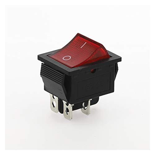 YSJSPKK Interruptor basculante 1 UNIDS KCD4-202 Interruptor de Interruptor de Rocker Switch 4Pin con luz 31x25mm 20A 125VAC 16A 250VAC (Color : Red)