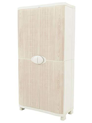 Plastiken Armario SPACE SAVER 90cm con 4 estantes metálicos con puertas imitación madera de HAYA (90cm de ancho x 45cm de hondo x 184cm de alto)