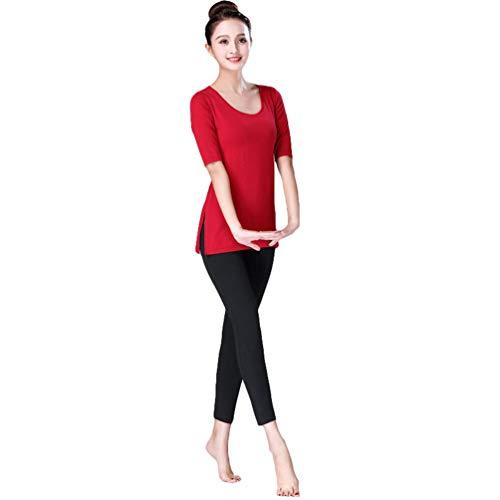 Yujeet Yoga/Danza Mujeres Manga Corta Color Sólido Camisa Larga Top Entrenamiento Ropa & Pantalones (Vino Rojo, Asia 2XL)