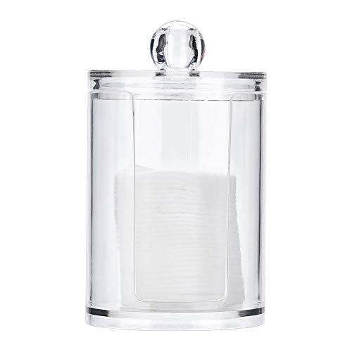 Dispensador de hisopos Soporte de almohadilla de algodón Caja de hisopos, Accesorio de escritorio Caja redonda de hisopos transparentes, para hisopos Almohadillas de algodón