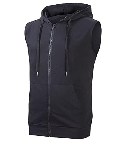 Cabeen Homme Sweat à Capuche Musculation Sport Veste sans Manche Zip Hood Fitness Shirt