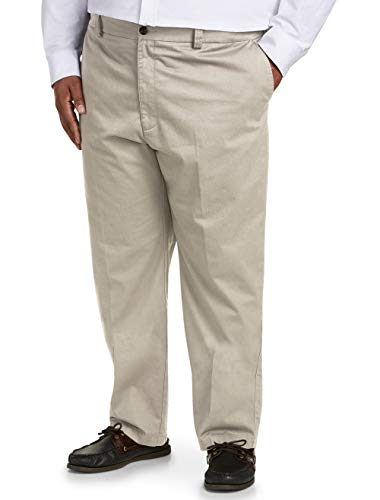 Amazon Essentials Men's Big & Tall Relaxed-fit Wrinkle-Resistant Flat-Front Chino Pant fit by DXL, Khaki 44W x 30L