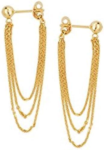 14  Gelb Gold Vorne bis hinten 4 Ball OhrStücker Fall Ohrringe