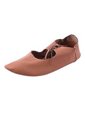 Battle-Merchant Flache mittelalterliche Schuhe aus Leder, Ristschnürung, wendegenäht - LARP - Mittelalter - Wikinger Schuhgröße 41