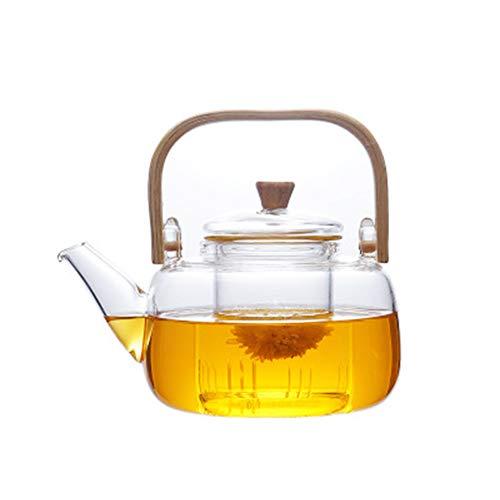 Teekanne, Glaskessel, Kung-Fu-Teeset, Gesundheitstopf, Bambusgriff, Teekanne mit Teesieb für losen Tee und blühenden Tee