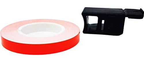 Quattroerre - 10292 - Cinta adhesiva para ruedas de color rojo fluorescente, 7mm x 6m