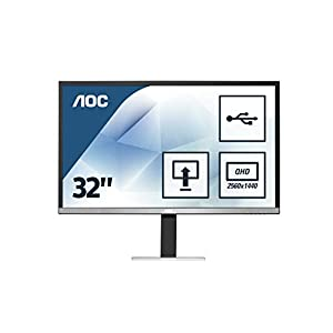 "AOC q3277Pqu 32"" Widescreen AMVA LED Black/Silver Multimedia Monitor (2560x1440/4ms/VGA/DVI-D/HDMI/DP) 22"