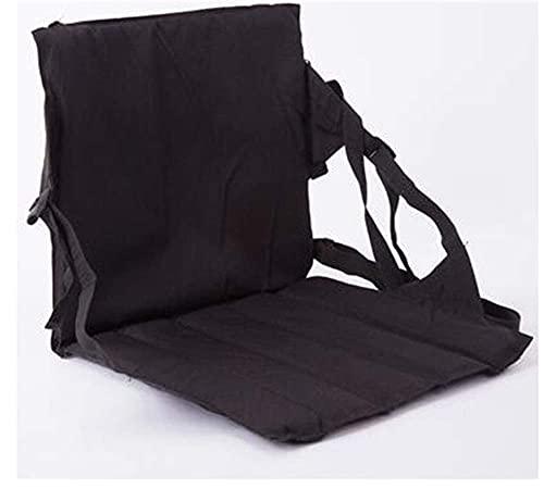 QWEA Silla blanqueadora de Asiento Plegable portátil con Respaldo para gradas Asiento de césped Taburetes de Pesca para Acampar Silla de Senderismo (Color: Negro)