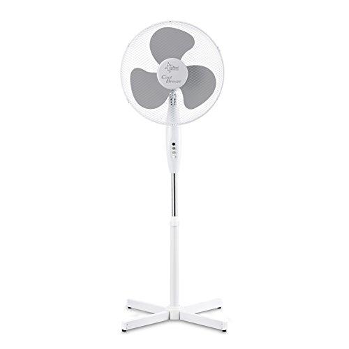 SUNTEC Ventilator Leise | Stand Standventilator CoolBreeze 4000 | Leise 40 cm Durchmesser, 50 Watt | Fan Windmaschine Weiss | für Bett, Schlafzimmer, Büro, Wohnung, Terrasse
