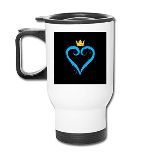 Kingdom Hearts Crown Heart - Taza de café (acero inoxidable, 473 ml, doble pared, con tapa a prueba de salpicaduras, para bebidas frías y calientes)