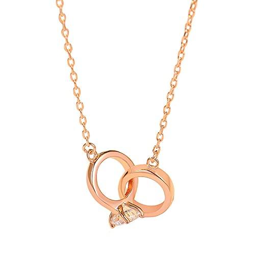 Collares para niñas, anillos dobles, collares infinitos, joyas de Navidad, cumpleaños, regalo de San Valentín