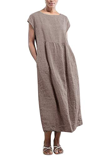 Yidarton Kleider Damen Lang Sommer Elegant Strandkleid Kurzarm Rundhalsausschnitt Casual Lose Maxi Kleider mit Taschen (Khaki, XXL)