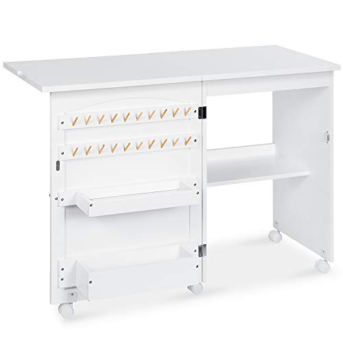 Best Choice Products Folding Sewing Table Multipurpose Craft Station & Side Desk with Compact...