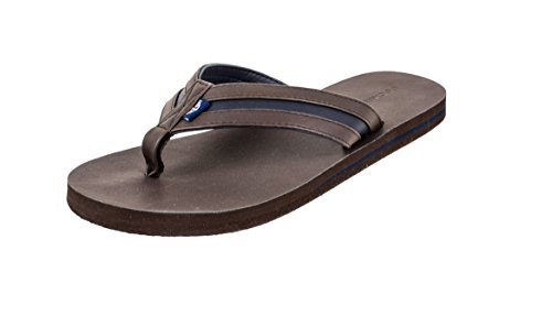 Dockers Men's Flip Flop Sandal ; Classic Comfort Footbed with Two-Tone Upper, Size 8 to 13 Brown-Navy