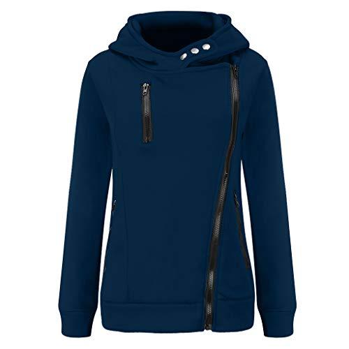 GOKOMO Jacke Damen Sweatjacke Hoodie Sweatshirtjacke Pullover Oberteile Kapuzenpullover Reißverschluss Herbst und Winter Warm(Navy Blue,XXX-Large)