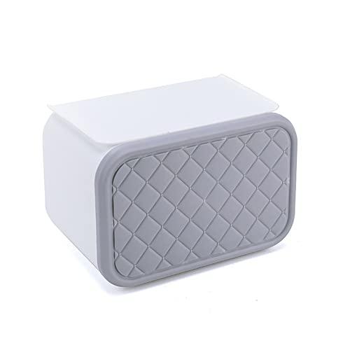 Portarrollos de papel higiénico de pared con estante, portarrollos de papel higiénico autoadhesivo, sin perforaciones Impermeable/a prueba de polvo/a prueba de gatos Dispensador de rollos de papel