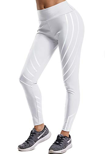 Mallas Pantalones Deportivos Leggings Mujer Yoga de Alta Cintura Elásticos y Transpirables para Yoga Running Fitness con Gran Elásticos270 Blanco XL